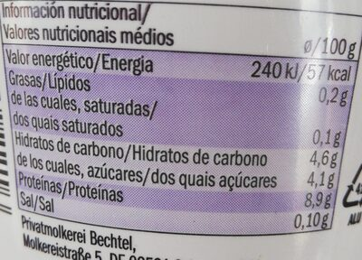 Skyr myrtilles - Valori nutrizionali - es