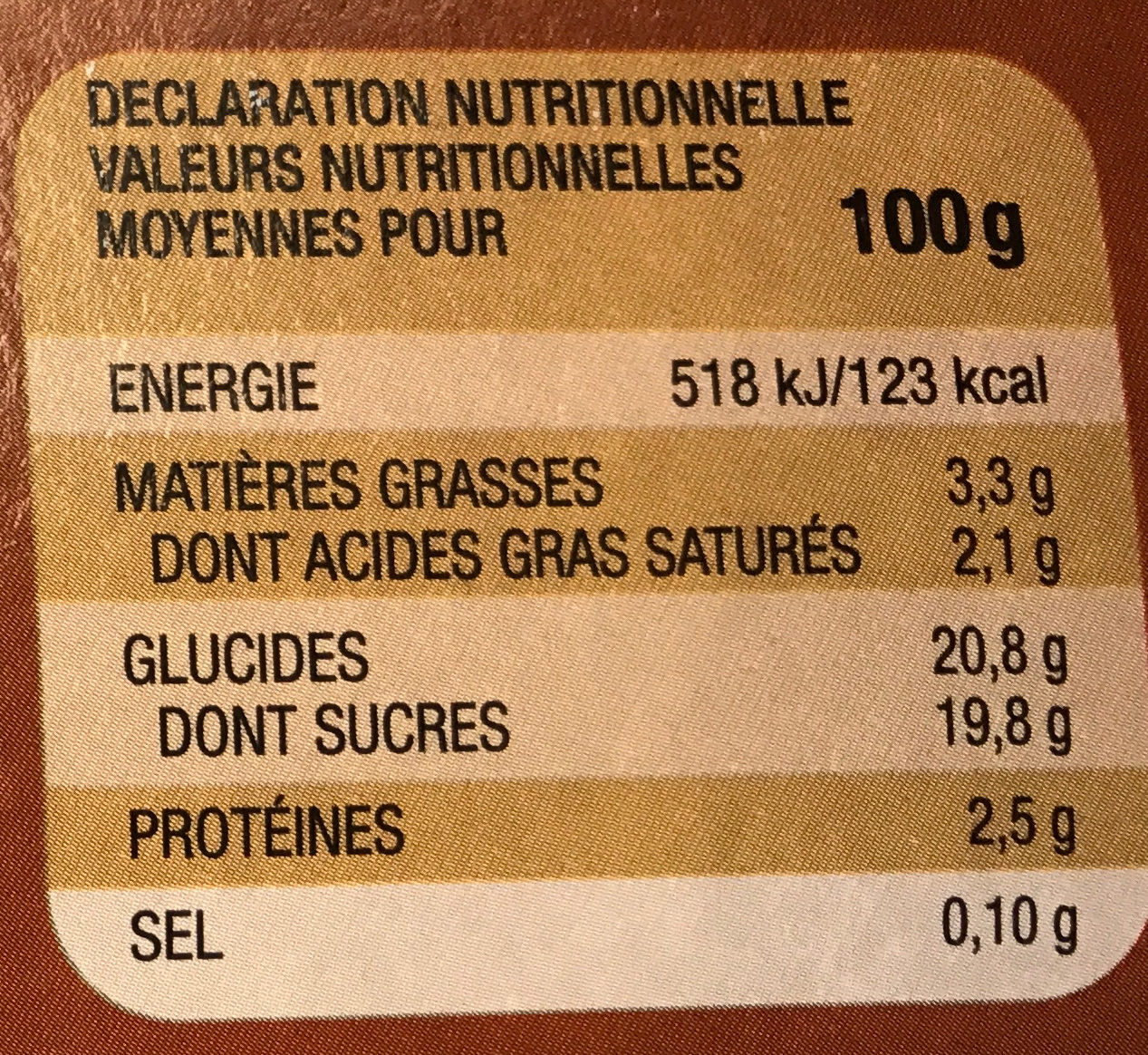 Flan nappé Chocolat - Nutrition facts - fr