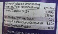 Sirop cassis - Nutrition facts - fr
