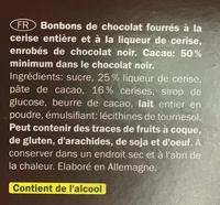 Cherry Liquers - Ingrédients