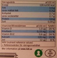 Ängens Laktosfri svensk lättmjölkdryck - Informations nutritionnelles