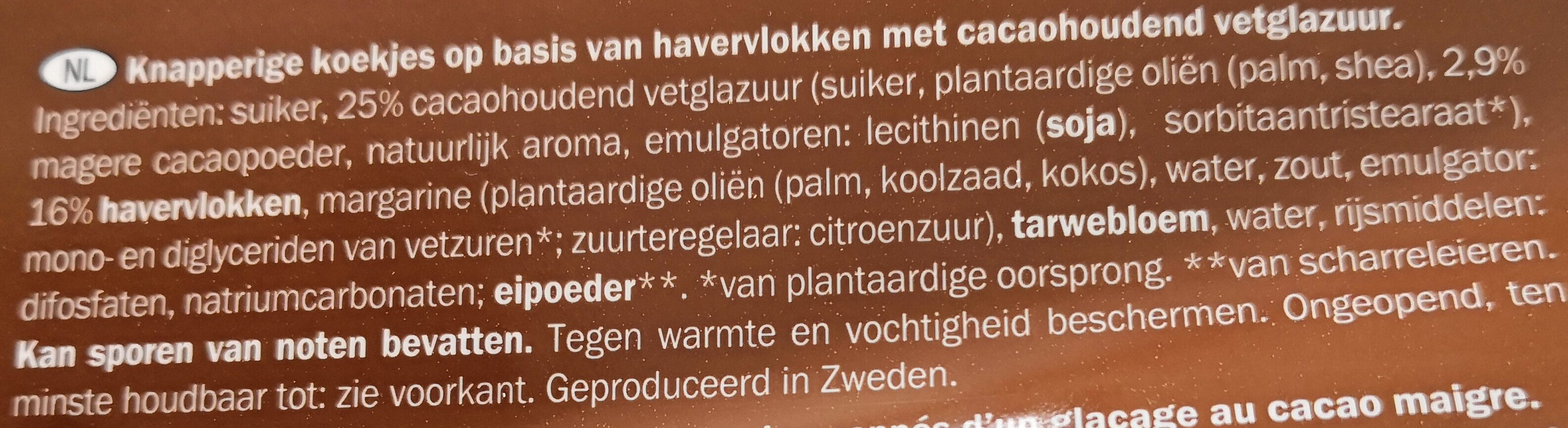 Haferkekse Schoko - Ingredients - nl