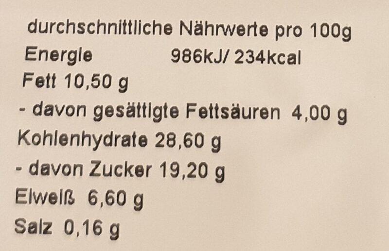 Käsekuchen hoch halb - Nutrition facts