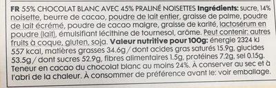 Barre de chocolat blanc praline - Ingredients