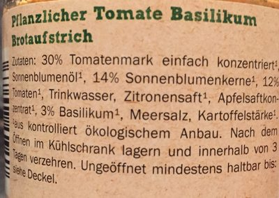Bio tomato basil spread, my best veggie - Ingredients - de