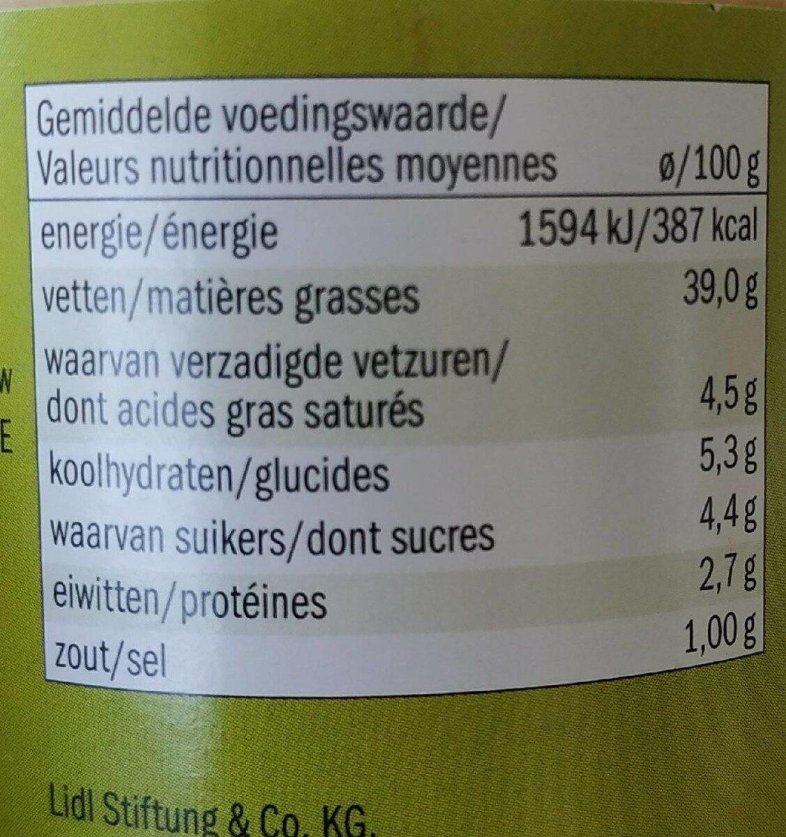 Bio courgette-curry spread - Valori nutrizionali - de