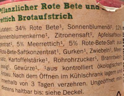 Bio beetroot-horseradish spread - Inhaltsstoffe