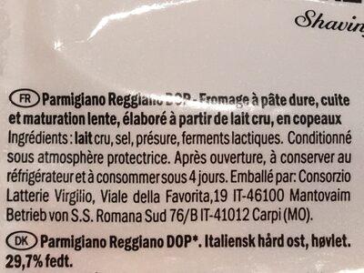 Deluxe Parmigiano Reggiano Fein Gehobelt - Ingrediënten - fr