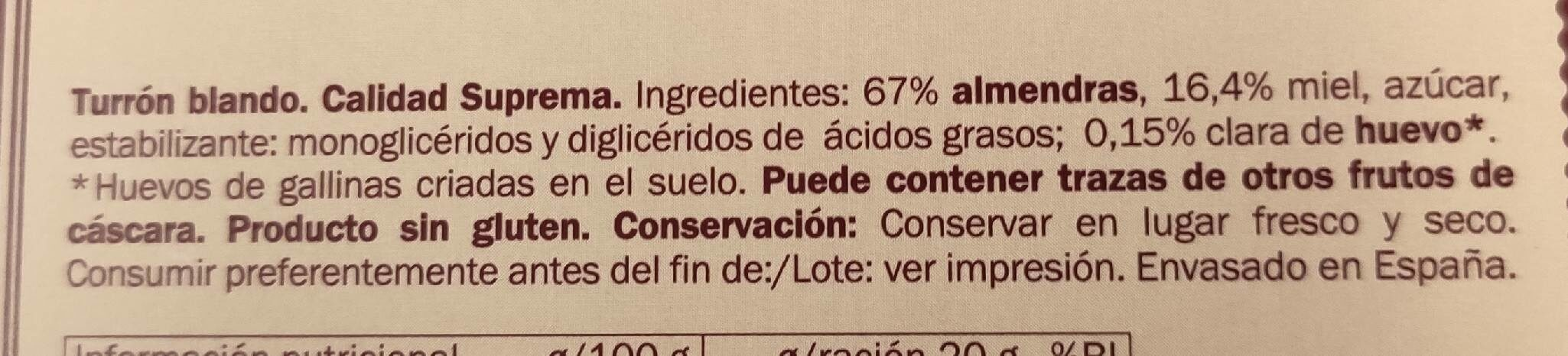 Turrón blando - Información nutricional - es