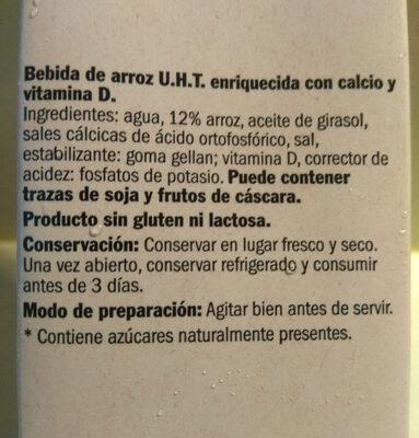 Bebida de arroz - Ingredientes - es