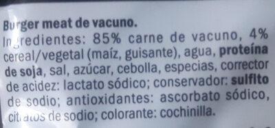Burguer Meat de vacuno - Съставки - es