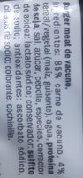 burger meat vacuno - Ingredientes
