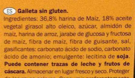 Galletas María sin gluten - Ingrediënten - es