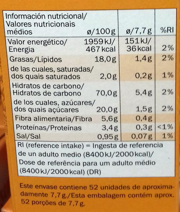 Galletas María sin gluten - Voedingswaarden - es