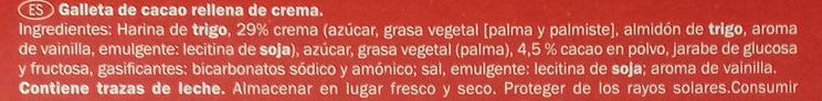 Galletas Neo - Ingredientes - es