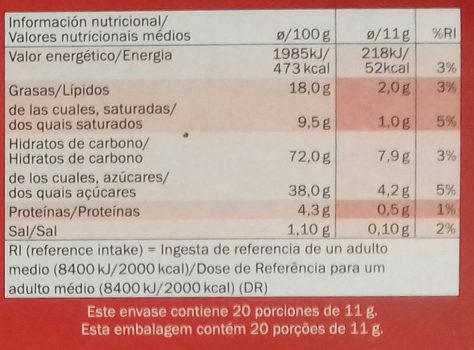 Galletas Neo - Voedingswaarden - es