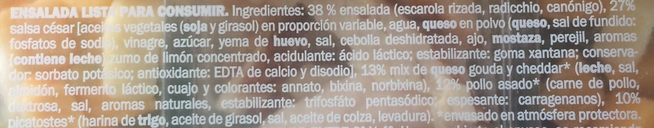 Cesar con pollo y queso - Ingrediënten - es