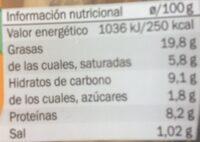 Cesar con pollo y queso - Informació nutricional