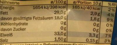 Grana Padano gerieben - Informations nutritionnelles