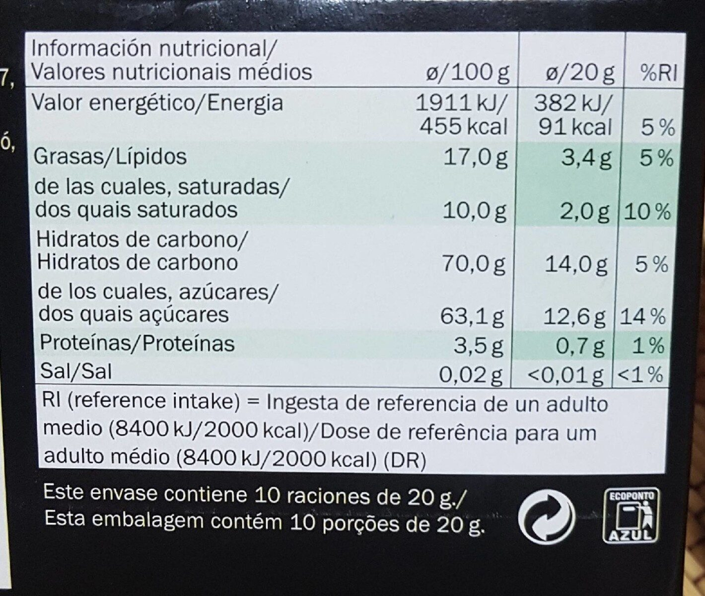 Chocolate de menta - Nutrition facts - fi