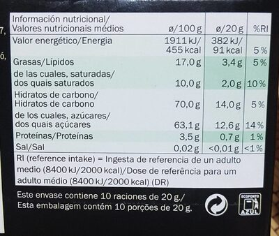 Chocolate de menta - Nutrition facts - fr