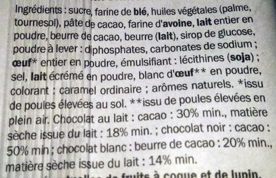 Grandin trois chocolats cookies - Ingredients