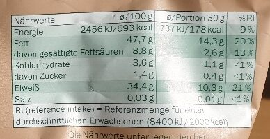 Kürbiskerne naturbelassen - Informazioni nutrizionali - de