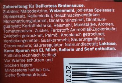 Delikatess Sauce zu Braten - Ingredienti - de