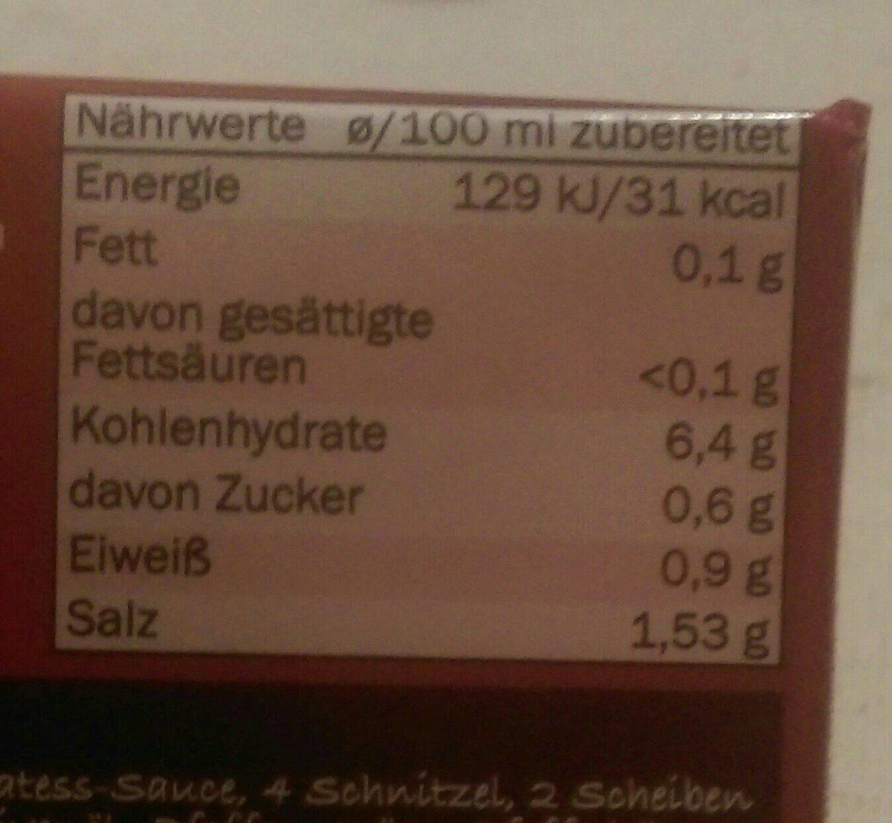 Delikatess Sauce zu Braten - Valori nutrizionali - de