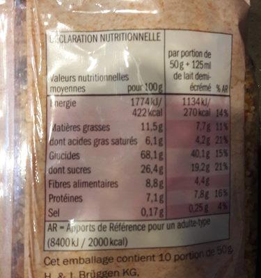 Muesli fruits rouges croustillant Bio - Nutrition facts