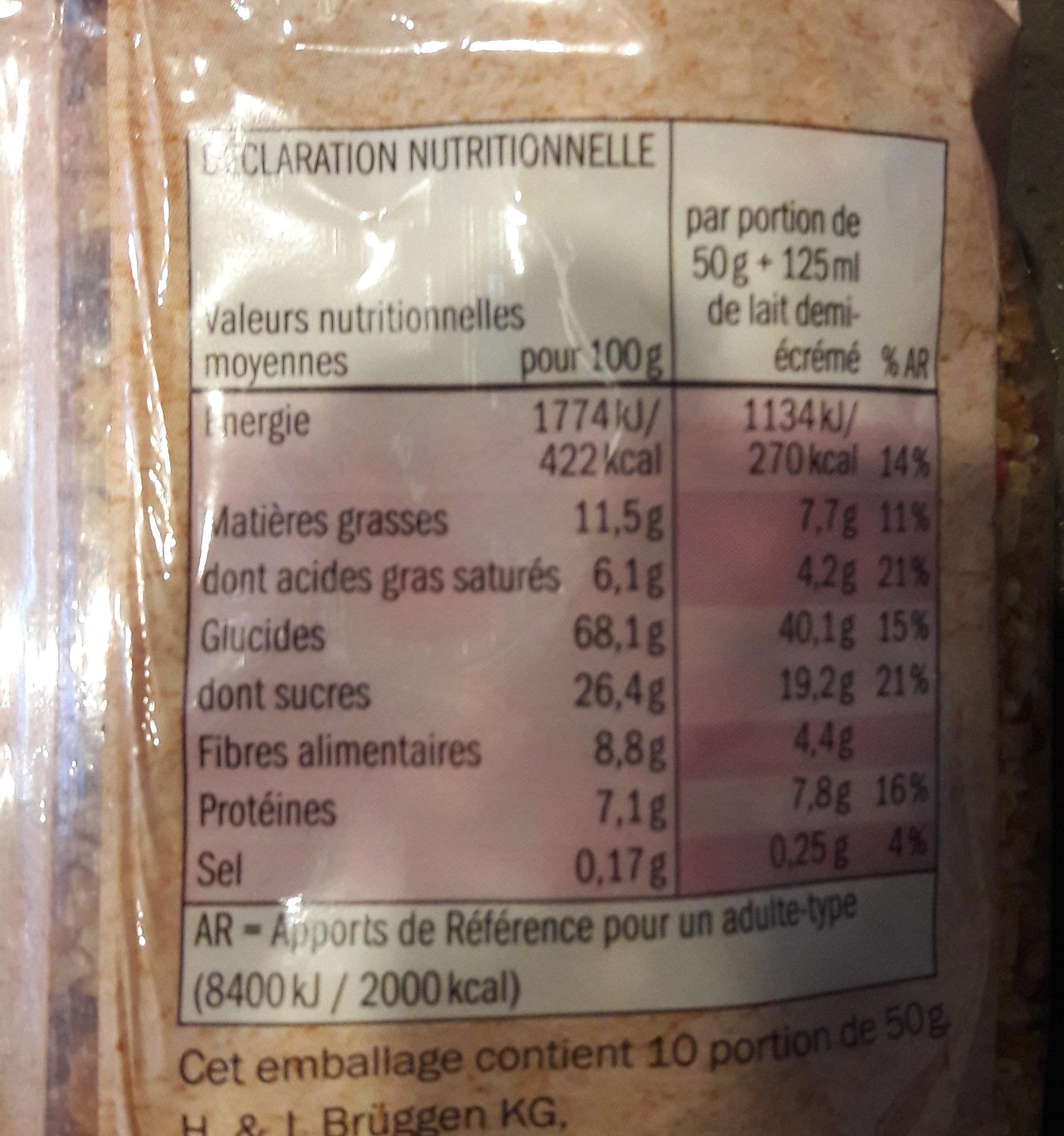 Muesli Croustillant Fruits Rouges - Informations nutritionnelles