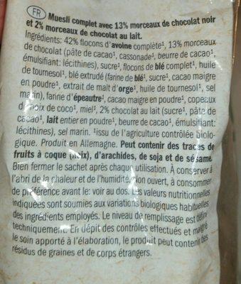 Crunchy muesli chocolate - Ingrediënten