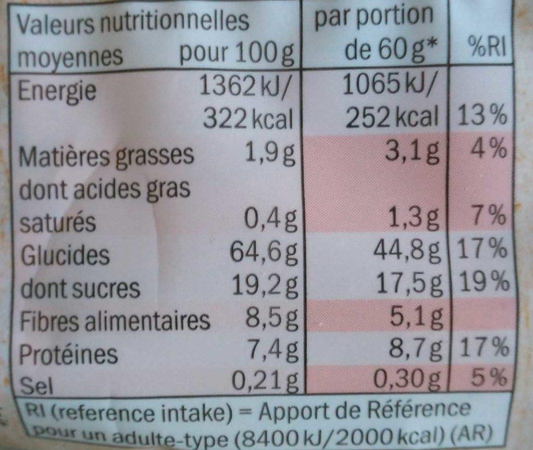 Bio Muesli Fruits - Información nutricional