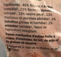 Muesli fruits et noix croustillant Bio - Ingrediënten