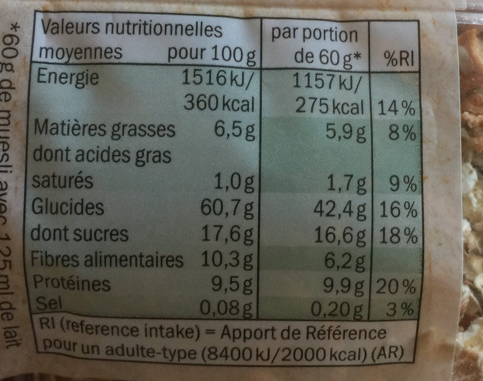Muesli Fruits rouges - Nutrition facts - fr