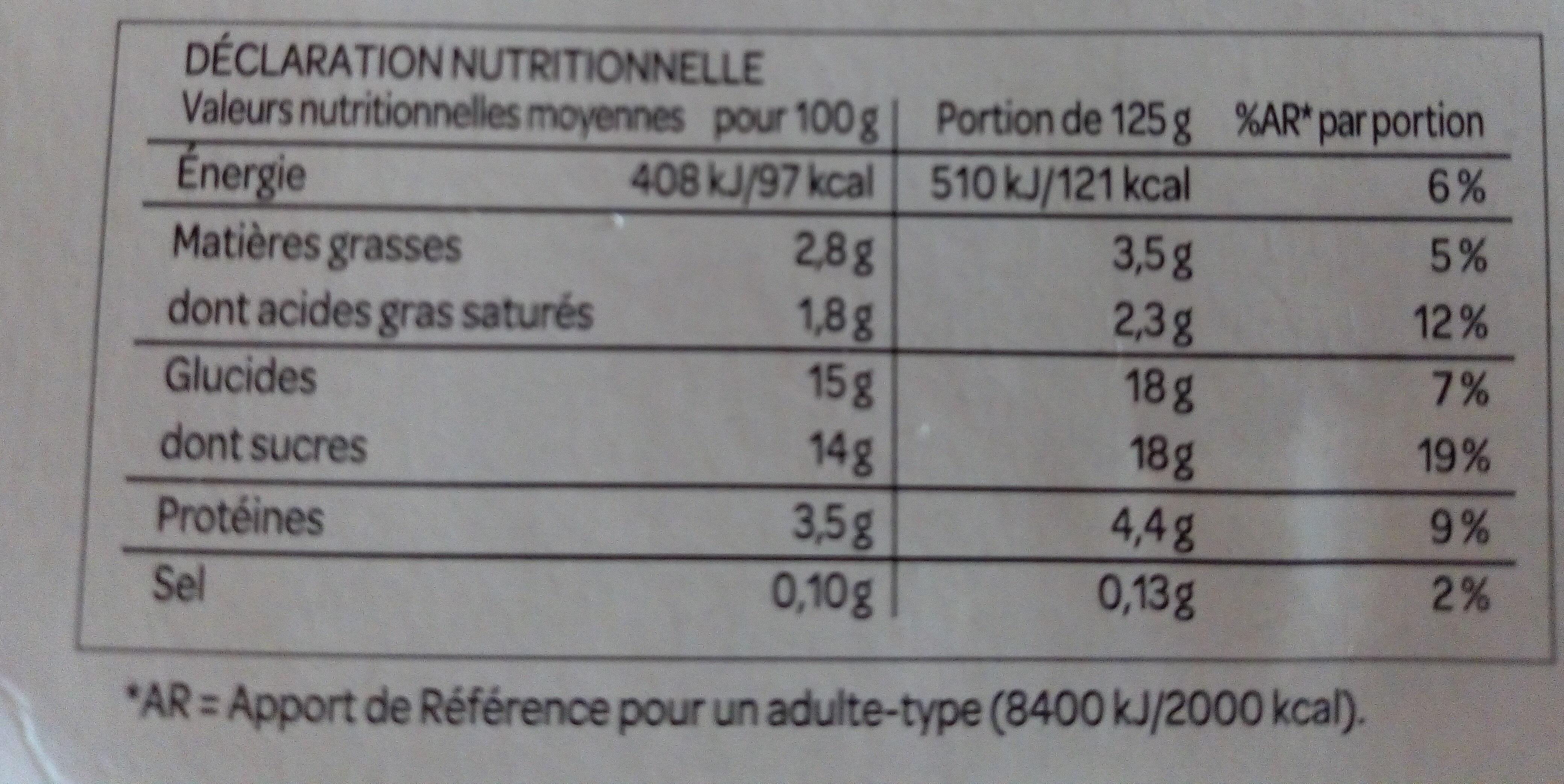 Yaourt aux Fruits avec morceaux - Voedingswaarden - fr