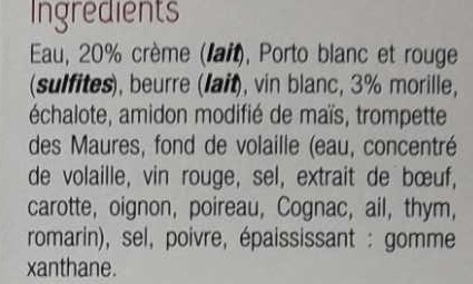 Sauce Morilles - Ingrédients