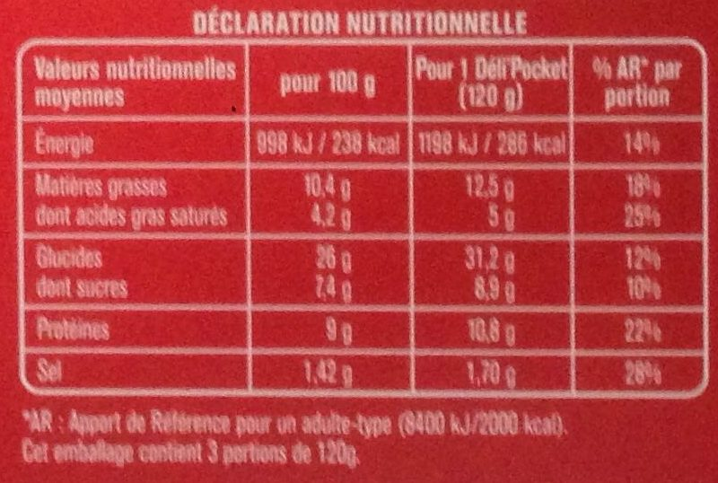 Déli'Pocket Flammekueche - Voedingswaarden - fr
