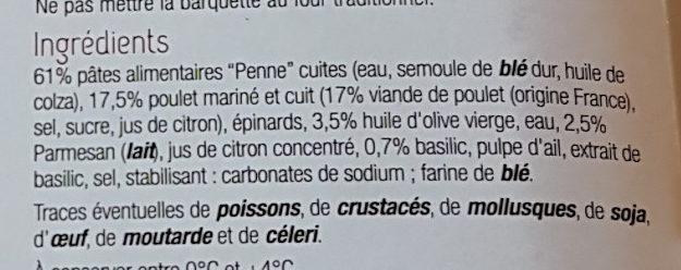 Penne au poulet sauce pesto - Ingredients