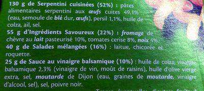 Salade serpentini Crudités Chèvre, noix et tomate - Ingrédients
