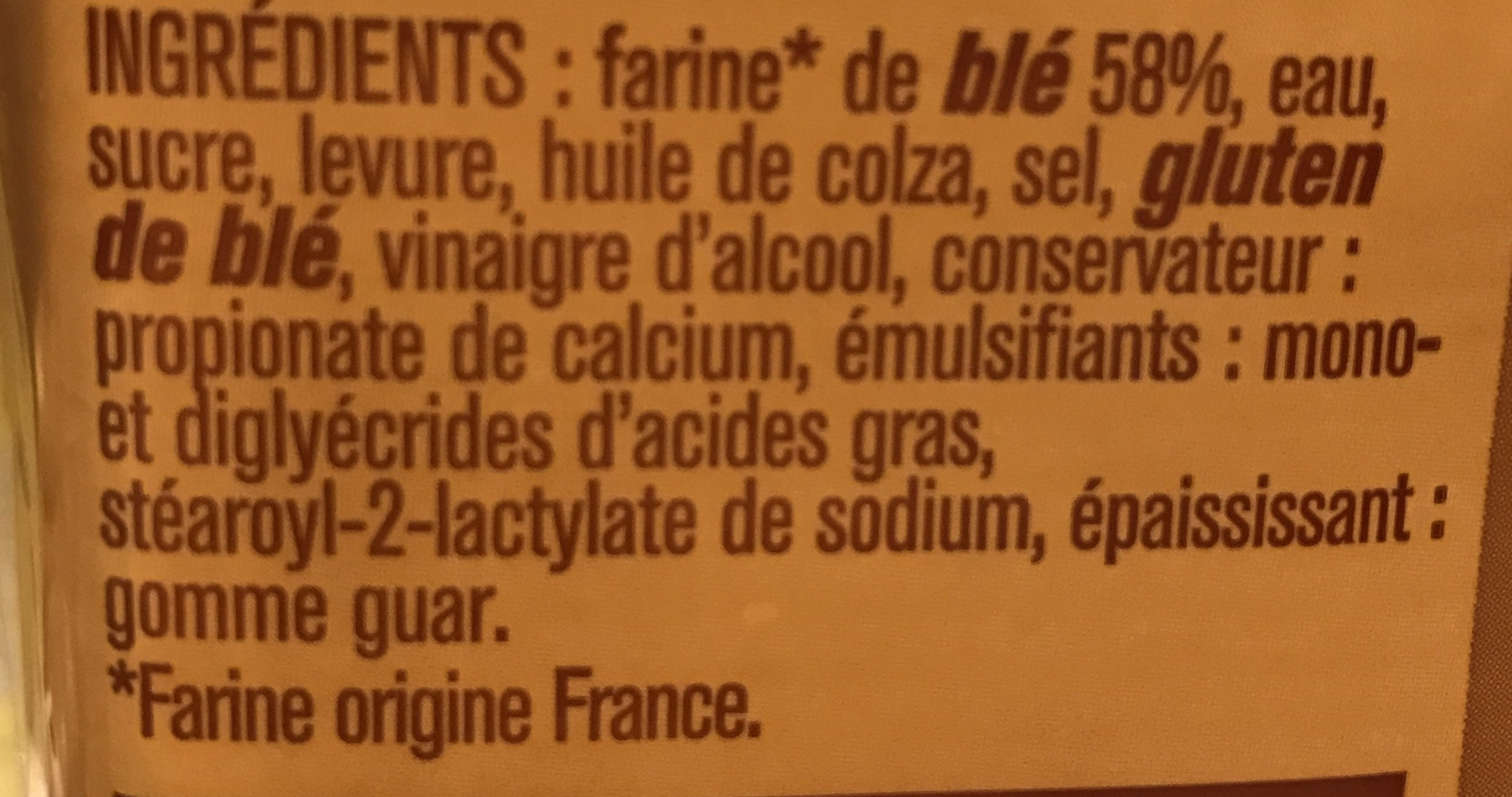 Pain de mie sans croûte - Ingredients - fr