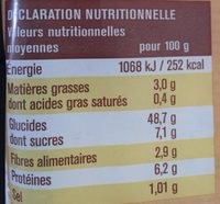 Pain de mie sans croûte - Nutrition facts - fr