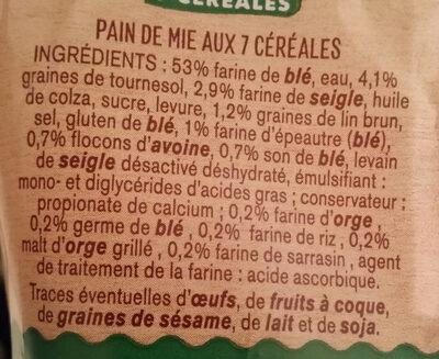 Pain de mie 7 céréales - Ingrédients - fr