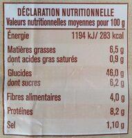 Pain de mie 7 céréales - Informations nutritionnelles - fr