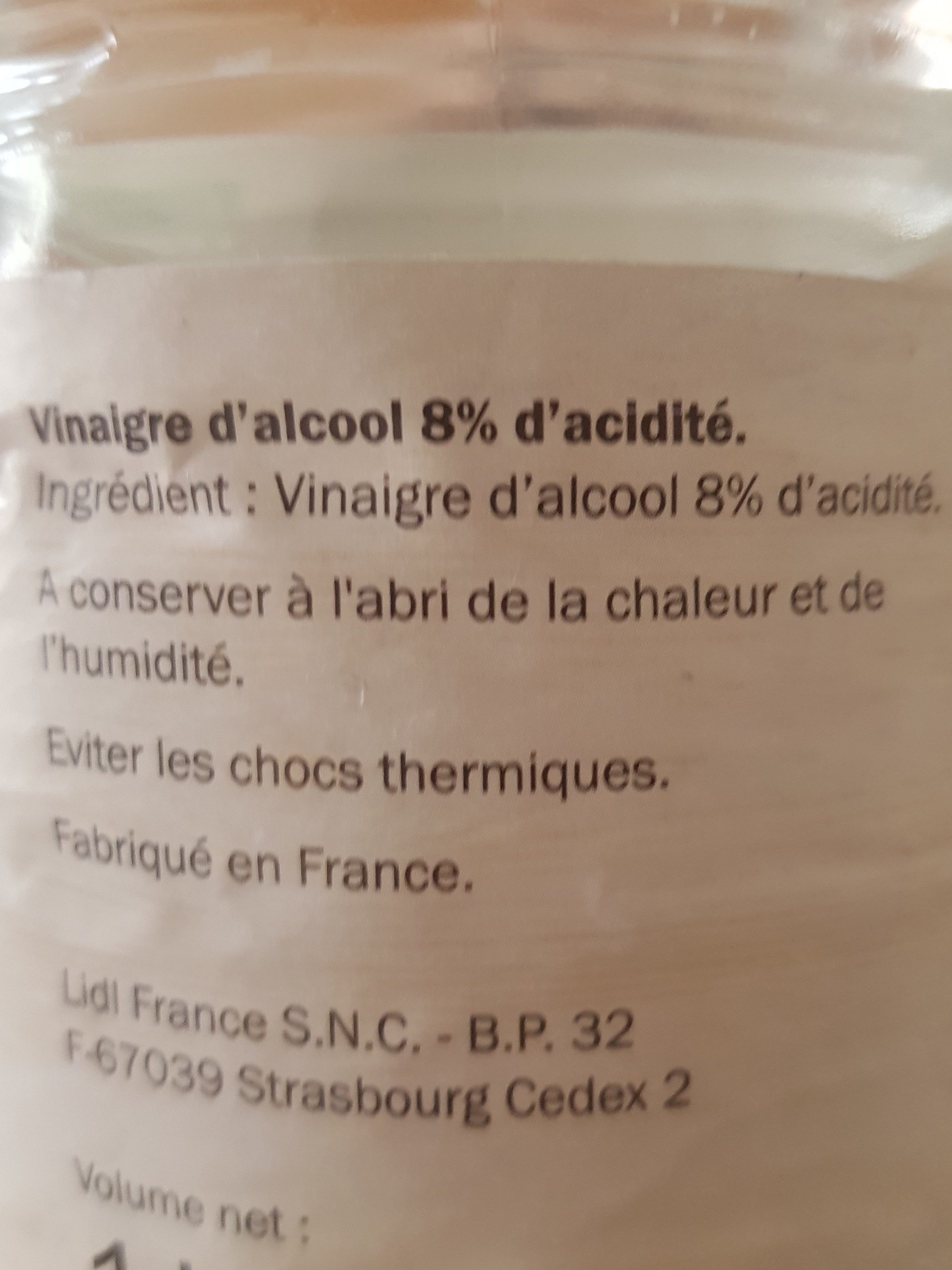 Vinaigre cristal - Ingrediënten