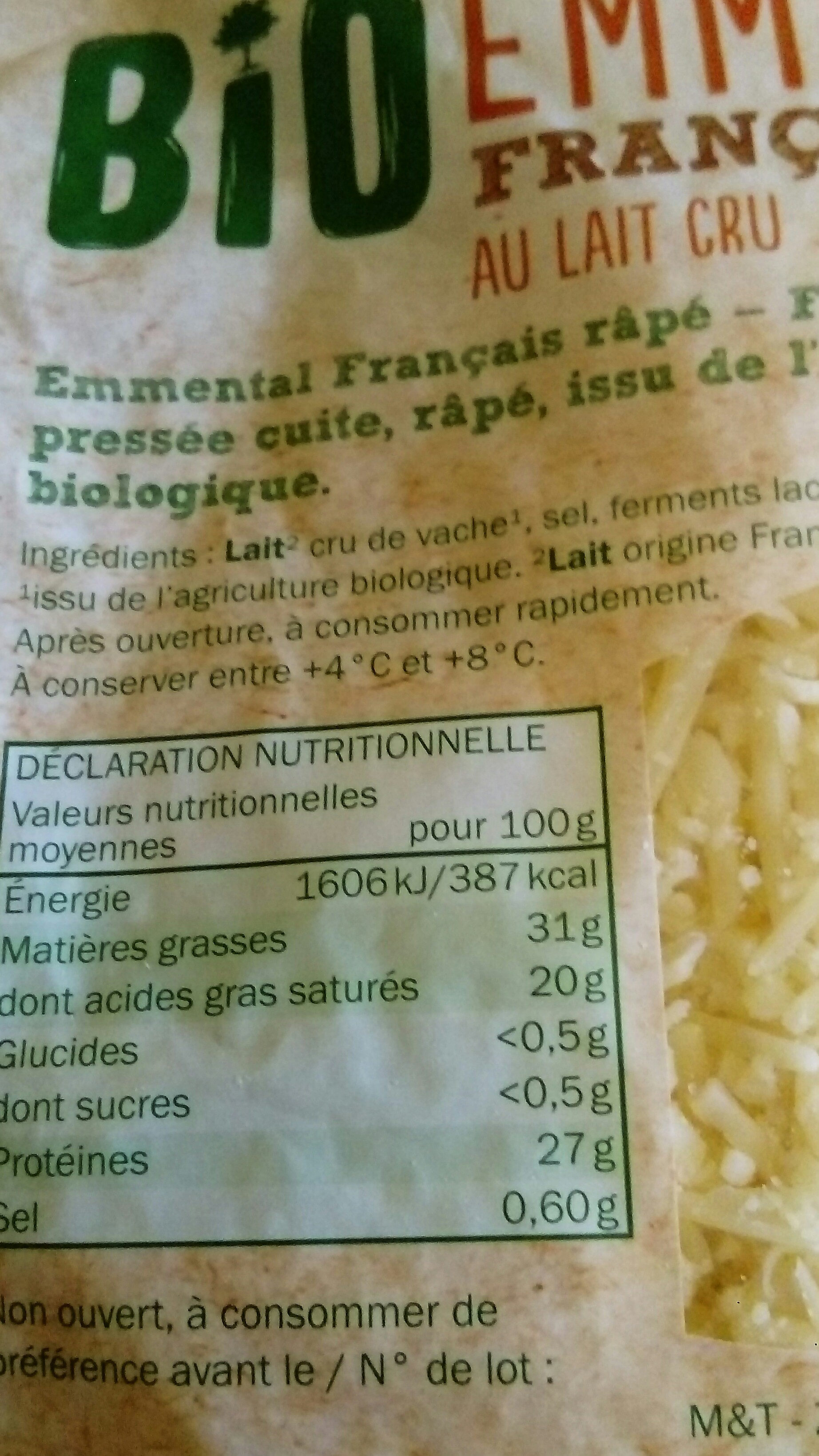 Bio Emmental Français Rapé - Informations nutritionnelles