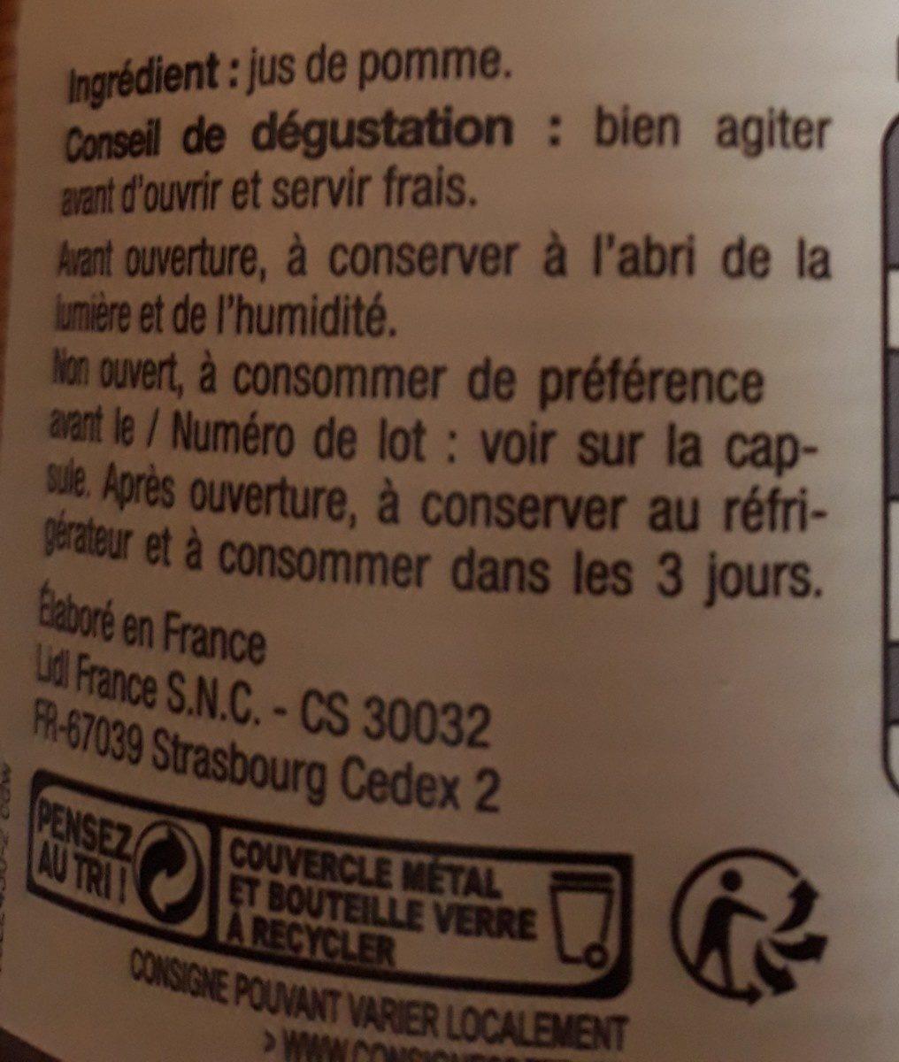 Jus de pomme de Bretagne - Ingrédients