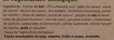 Biscuits nappés chocolat noir bio - Ingredients - fr