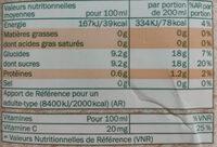 Solevita bio pur jus d'orange - Informations nutritionnelles