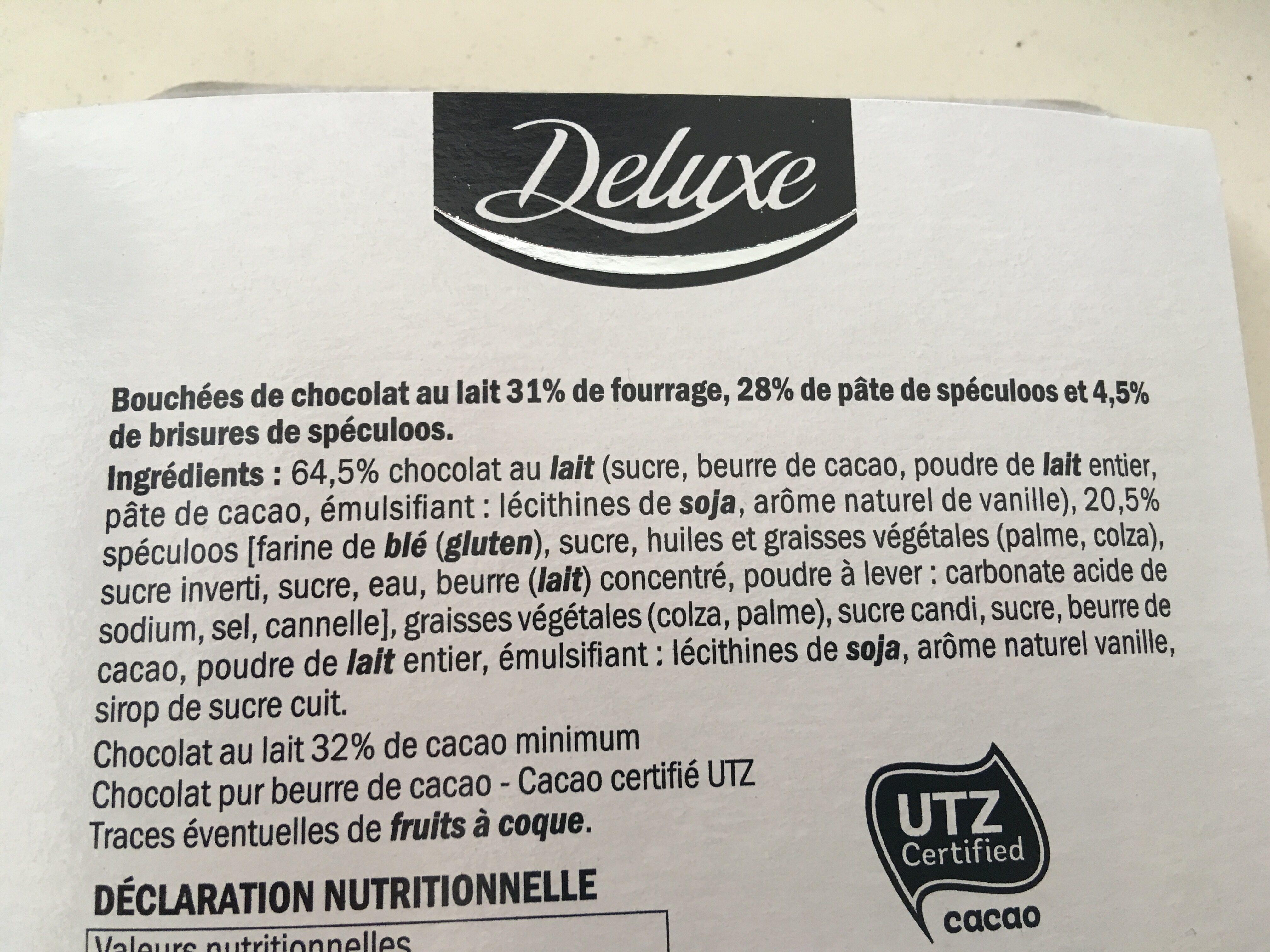Bouchées chocolat lait - Ingredients